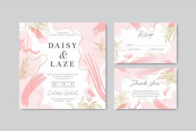 Modello di carta di invito matrimonio elegante con forme astratte