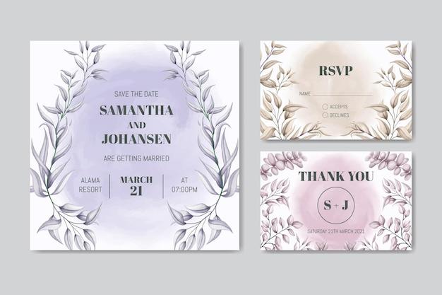 Modello di carta di invito matrimonio elegante con cornice floreale dell'acquerello