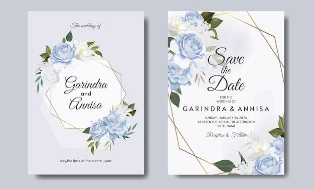 Carta di invito matrimonio elegante con bellissimo modello floreale e foglie