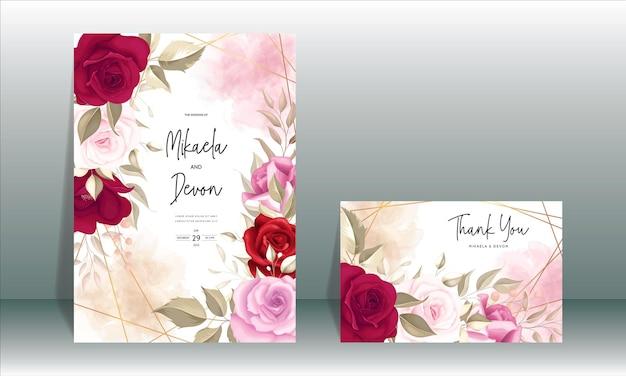 Elegante biglietto d'invito per matrimonio con bellissime rose marroni
