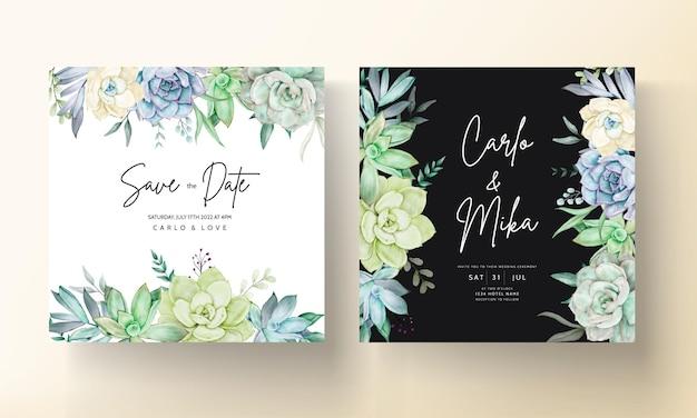 Elegante biglietto d'invito per matrimonio con un bellissimo acquerello di fiori succulenti