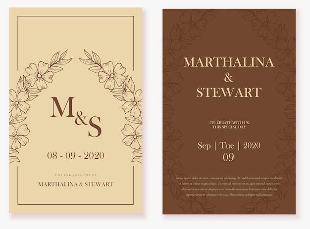 Carta di invito matrimonio elegante con fiore fresco