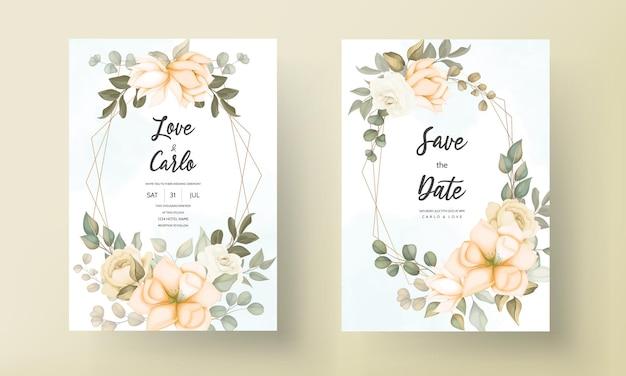 Carta di invito matrimonio elegante con ornamenti floreali