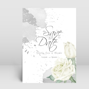 Carta di invito matrimonio elegante con schizzi floreali e acquerello