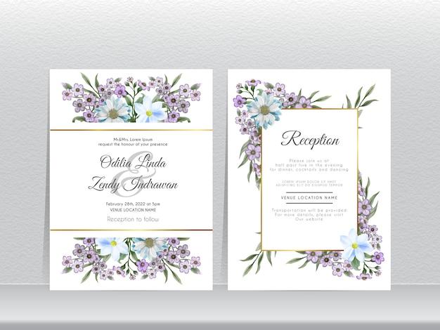 Carta di invito matrimonio elegante con fiori disegnati a mano non ti scordar di me