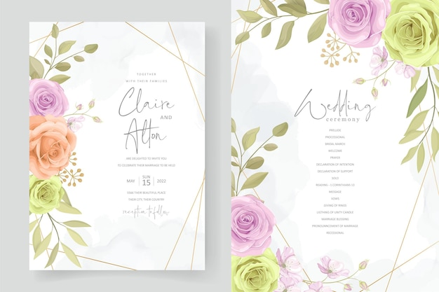 Elegante biglietto d'invito per matrimonio con fiori e foglie morbidi disegnati a mano