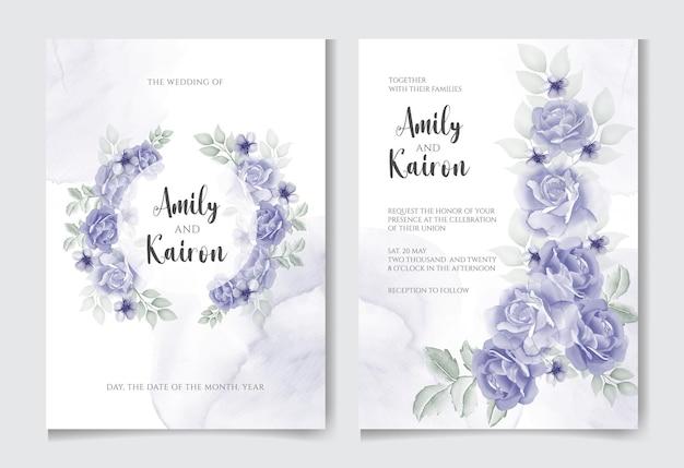 Elegante biglietto d'invito per matrimonio con bellissimo modello floreale e foglie blu navy