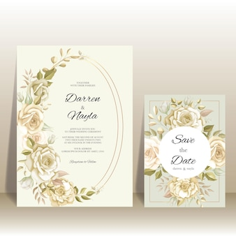 Carta di invito matrimonio elegante con decorazione rosa