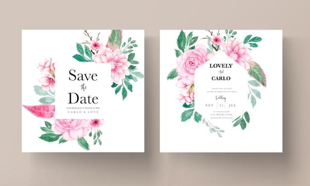 Elegante biglietto d'invito per matrimonio con ornamento floreale ad acquerello rosa tenue