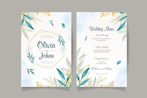 Elegante biglietto d'invito per matrimonio con foglie acquerello e oro