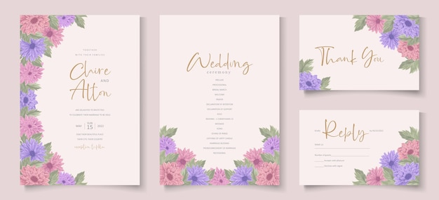Design elegante invito a nozze con bellissimi fiori di crisantemo