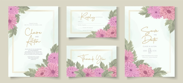 Design elegante invito a nozze con ornamento floreale crisantemo rosa
