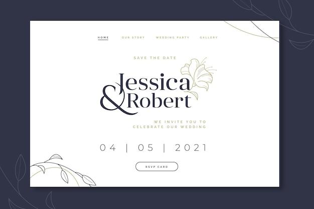 Elegante pagina di destinazione dell'invito a nozze