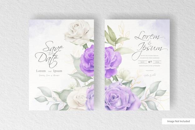 Elegante set di partecipazioni di nozze con fiori e foglie ad acquerello