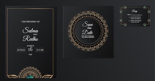 Insieme di progettazione del modello dell'invito di nozze elegante Vettore Premium