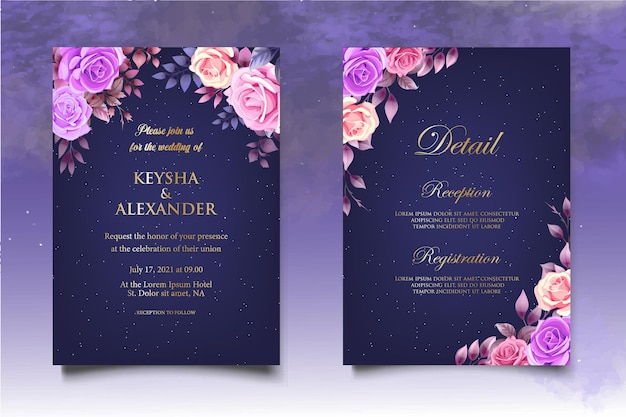 Elegante modello di invito a nozze con bellissime rose