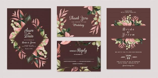 Il modello elegante dell'invito di nozze ha messo con la struttura marrone delle foglie dell'acquerello e la decorazione del confine. concetto di design di carta botanica
