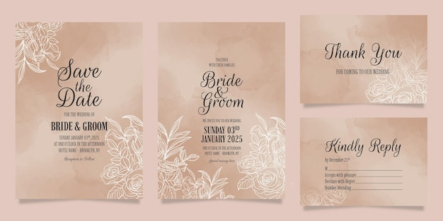 Elegante modello di invito a nozze con decorazioni floreali foglie