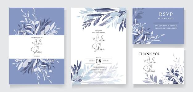 Elegante modello di invito a nozze con cornice di foglie di acquerello e decorazione botanica del bordo