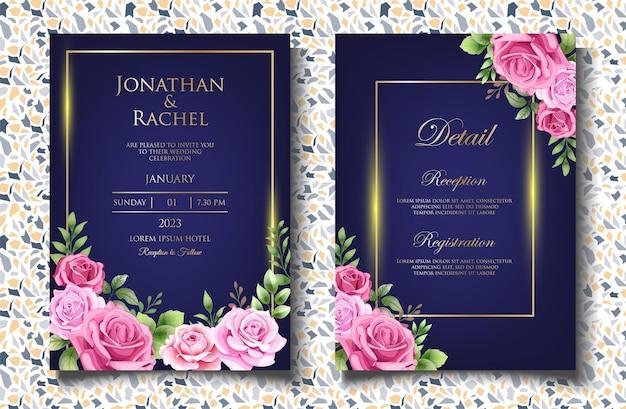 Elegante modello di invito a nozze con bellissime foglie floreali