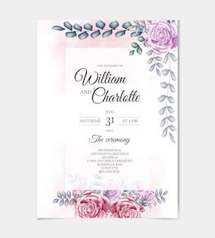 Elegante modello di invito a nozze con bellissima cornice floreale vettore premium