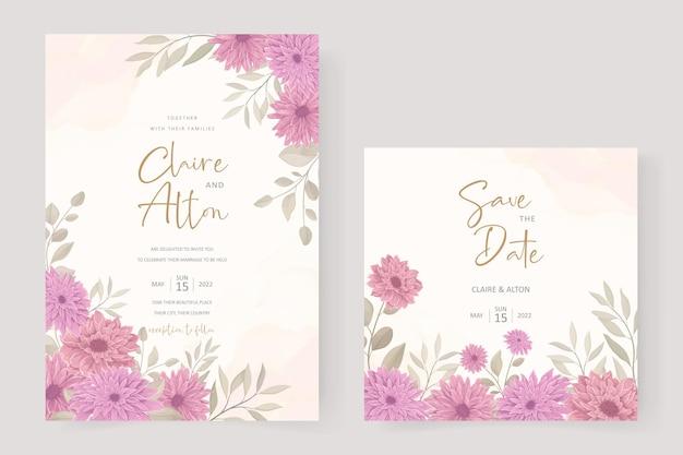 Elegante modello di invito a nozze con disegno floreale del crisantemo