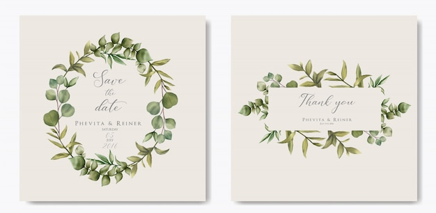 Modello di invito di matrimonio elegante con foglie di eucalipto