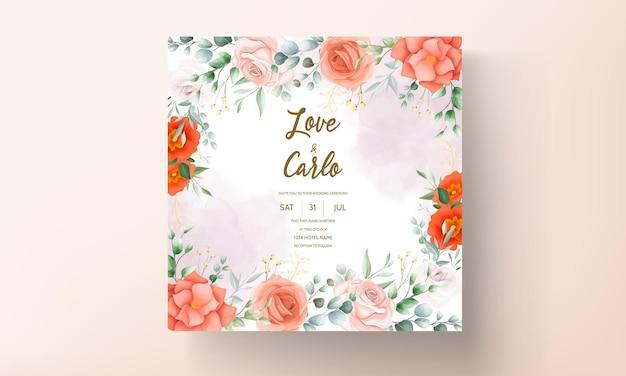 Elegante modello di invito a nozze con decorazioni floreali
