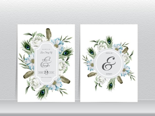 Modello di invito matrimonio elegante con piuma di pavone e acquerello floreale