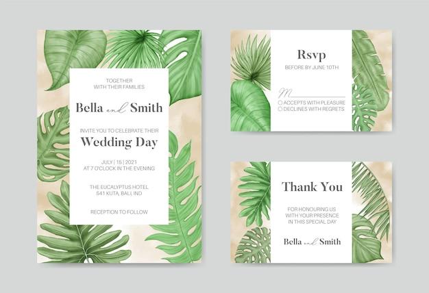Modello di invito matrimonio elegante con foglie tropicali Vettore Premium