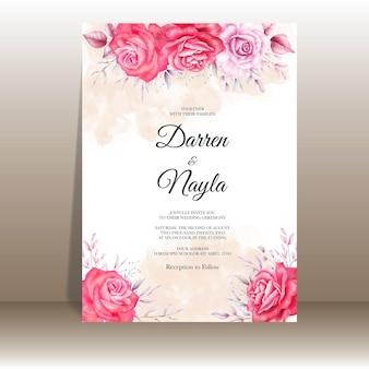 Modello di invito matrimonio elegante con acquerello floreale