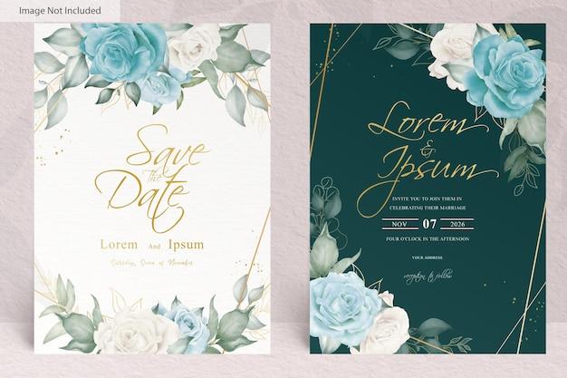 Elegante modello di invito a nozze con fiori e foglie ad acquerello