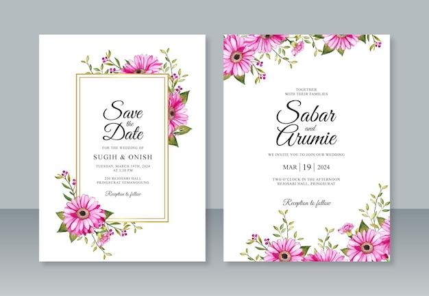 Elegante modello di invito a nozze con fiori ad acquerelli