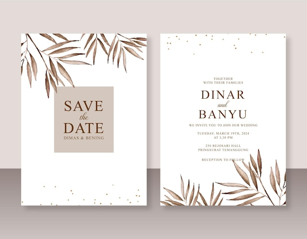 Elegante modello di invito a nozze con pittura ad acquerello