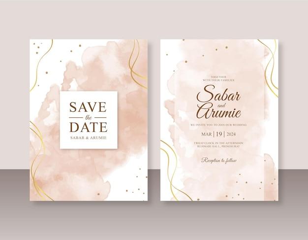 Elegante modello di invito a nozze con schizzi ad acquerello