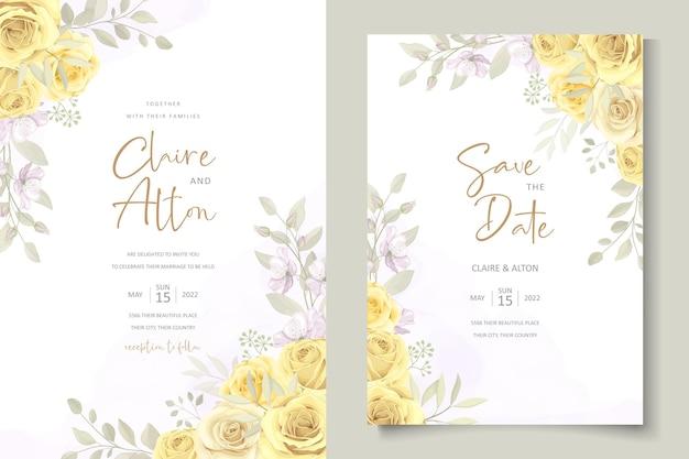 Modello di invito matrimonio elegante con ornamento floreale di colore giallo