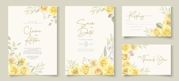 Elegante modello di invito a nozze con tema floreale giallo
