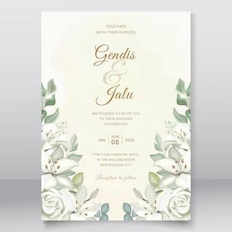 Modello floreale bianco elegante dell'invito di nozze