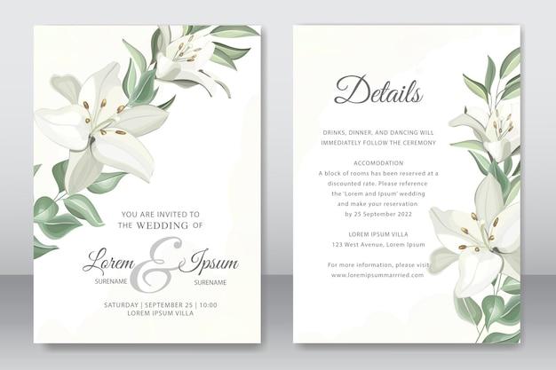 Elegante invito a nozze con bellissimo giglio