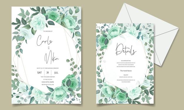 Elegante invito a nozze con fiori e foglie verdi