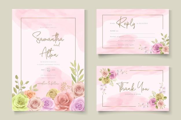 Invito a nozze elegante con tema floreale disegnato a mano
