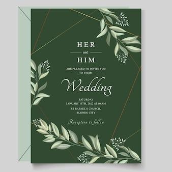 Elegante invito a nozze con foglie