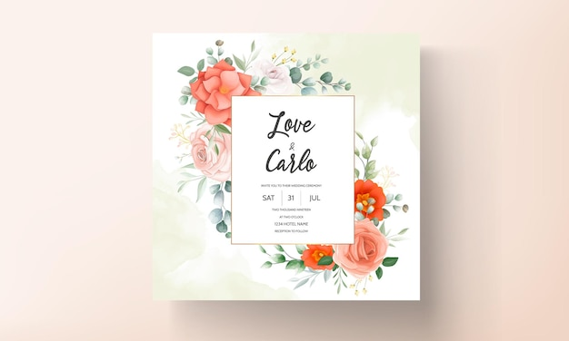Invito a nozze elegante con ornamenti floreali arancioni