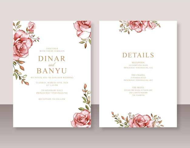 Elegante invito a nozze con rose rosse acquerello