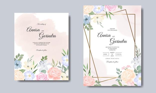 Modello di carta di inviti di nozze elegante con fiori colorati e foglie
