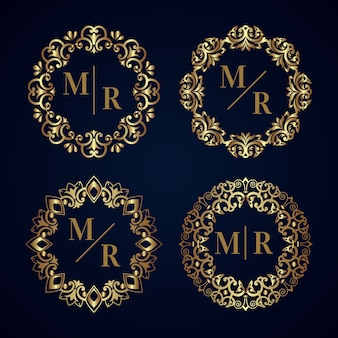 Tema collezione monogramma matrimonio elegante