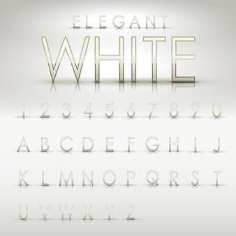 Eleganti alfabeti bianchi e raccolta di numeri su sfondo bianco pericolo