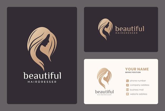 Volto di donna elegante, salone di bellezza, design del logo parrucchiere con modello di biglietto da visita.