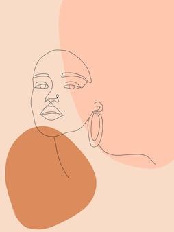 Elegante design del viso di donna in stile art line alla moda