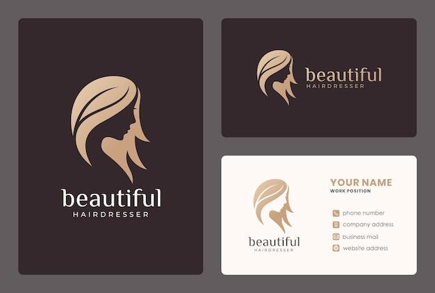 Volto di donna elegante, parrucchiere, design del logo del salone di bellezza con modello di biglietto da visita.